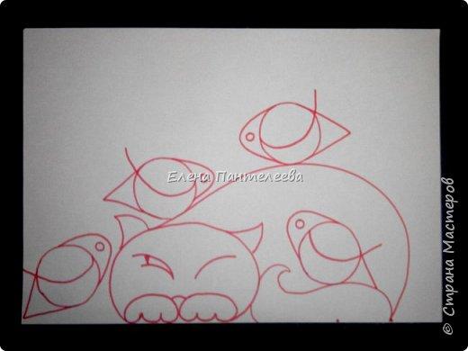 Рисуем кошку с птичками. фото 17
