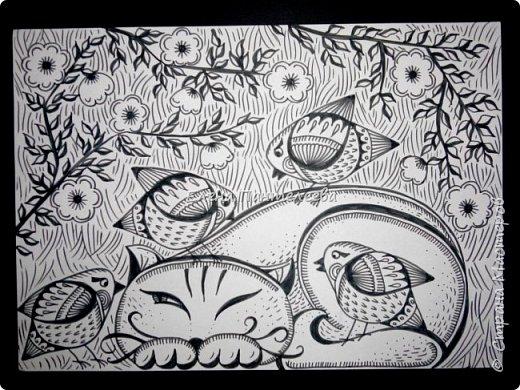 Рисуем кошку с птичками. фото 2