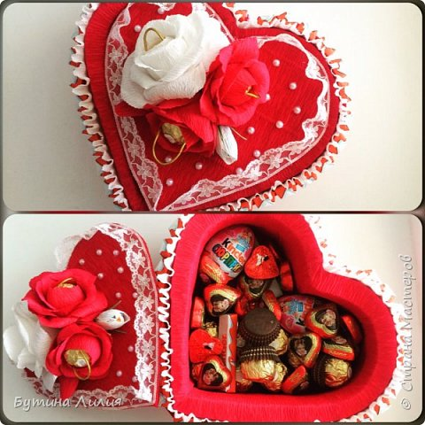 Добрый день ! Это сердце из Киндеров делала для молодой девушки. Идею подсматрела вот здесь http://stranamasterov.ru/node/803376?c=favorite. Спасибо большое за идею!!! фото 3