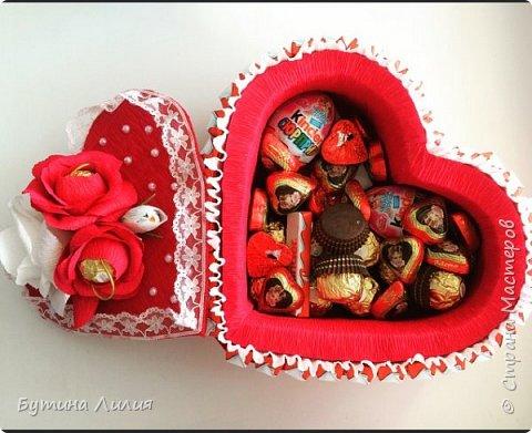 Добрый день ! Это сердце из Киндеров делала для молодой девушки. Идею подсматрела вот здесь http://stranamasterov.ru/node/803376?c=favorite. Спасибо большое за идею!!! фото 4