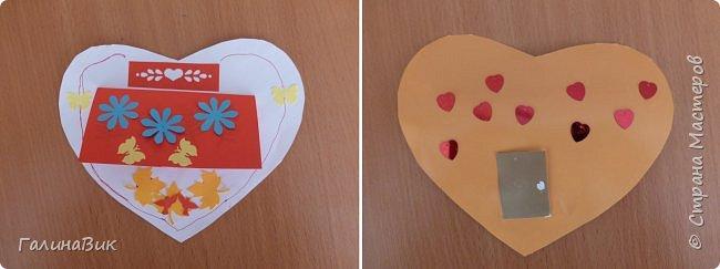 На уроке кружка ребята делали открытки и поделки к празднику святого Валентина. Мои образцы здесь http://stranamasterov.ru/node/1001208 и здесь:-)  http://stranamasterov.ru/node/1002295  А теперь предлагаю посмотреть несколько открыток, сделанных ребятами.  Эта работа мальчика. Изобразил очень милое семейство медведей. фото 14