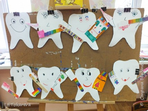"""На прошлой неделе в детском саду проходила здоровьесберегающая акция """"Здоровые зубы"""". И мы с ребятами на рисовании тоже решили обратить   внимание на эту тему.  Дошкольникам понравилось рисовать весёлые и здоровые зубы. а ещё мы мастерили зубную щётку для каждого зуба. Мы её делали из деревянных одноразовых шпателей.( У них закончился срок годности, и  наш мед. работник подарила их нам)              фото 6"""