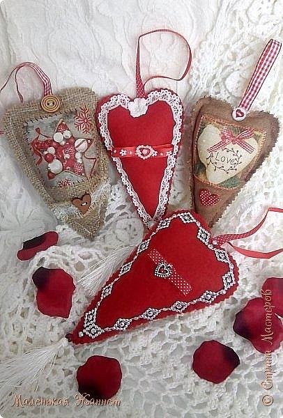 Приветствую всех! С днём Святого Валентина, праздником влюблённых!   Представляю Вашему вниманию свои текстильные сердечки Тильда.  фото 1