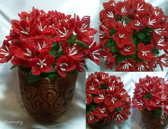 вот такой кустик получился под заказ. 51 цветочек и тонна бисера!)) фото 1