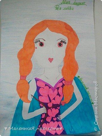 """Всем привет! Сегодня я сдаю работу на конкурс """"Моя фея"""". У меня получилась фея любви. В руках она держит лук со стрелами.  фото 1"""