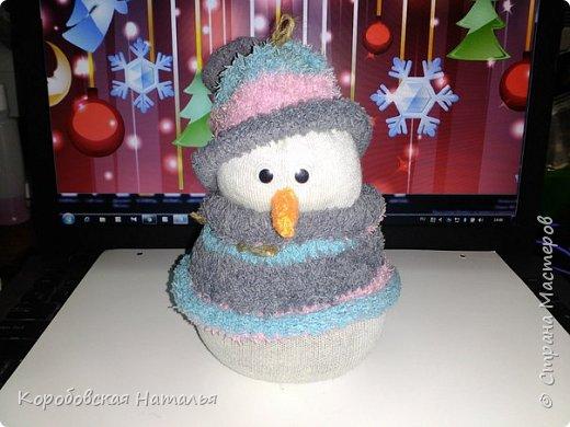Снеговик из махрового носка. фото 1