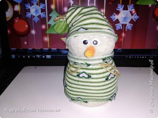 Снеговик из махрового носка. фото 2