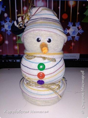Снеговик из махрового носка. фото 3