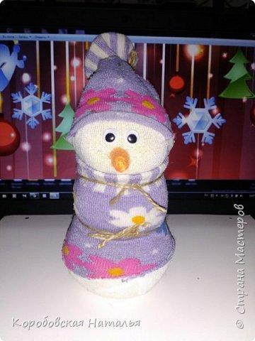 Снеговик из махрового носка. фото 4