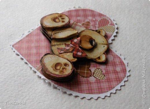 Валентинка  с 3D аппликацией фото 4
