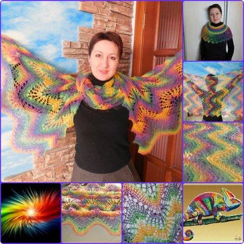 Это палантин хорошего настроения, ярких цветов, легкости и радости))) Получила огромное удовольствие от вязания - от переливов цвета, от того, как цвет причудливо укладывается в узор, изгибается, переходит один в другой.... вязание очень похоже на рисование. фото 1