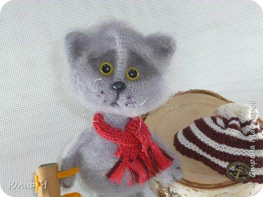 Всем здравствуйте! Решила показать свои вязаные игрушки. Первый котик был связан по авторскому описанию Веры Терекбаевой.  Ростиком получился 23см. фото 2