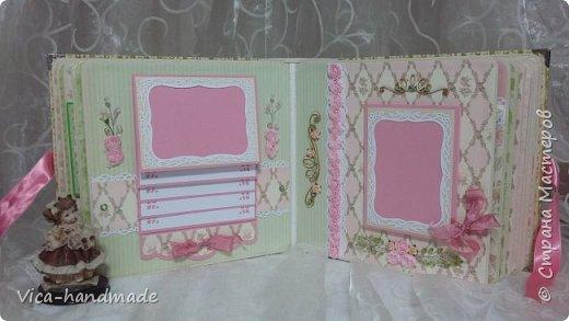 Привет!!! У меня сегодня альбом для моей маленькой принцессы, для фотографии с 2-х лет и сколько поместятся... Мягкая тканевая обложка, обтянутая американским хлопком. Размер альбома: 26*26, корешок 13,5см. Переплет - Светланы Ковтун. Состоит из 12 листов (11 разворотов). Использовала бумагу DCWV - Preppy Princess Stack. Шикарная  бумага. Давно у меня лежит, ждала своего часа... Из украшений - ленты, кружевные розочки, чипборд, стразы, много вырубки... Так же использовала горячий эмбросинг. На каждой развороте раскладушки для фотографий а также открывающиеся странички. Альбом вмещает 190 фото. Обязательный атрибут - коробка для хранения. Фото будет много... фото 41