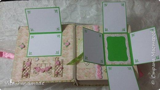 Привет!!! У меня сегодня альбом для моей маленькой принцессы, для фотографии с 2-х лет и сколько поместятся... Мягкая тканевая обложка, обтянутая американским хлопком. Размер альбома: 26*26, корешок 13,5см. Переплет - Светланы Ковтун. Состоит из 12 листов (11 разворотов). Использовала бумагу DCWV - Preppy Princess Stack. Шикарная  бумага. Давно у меня лежит, ждала своего часа... Из украшений - ленты, кружевные розочки, чипборд, стразы, много вырубки... Так же использовала горячий эмбросинг. На каждой развороте раскладушки для фотографий а также открывающиеся странички. Альбом вмещает 190 фото. Обязательный атрибут - коробка для хранения. Фото будет много... фото 21