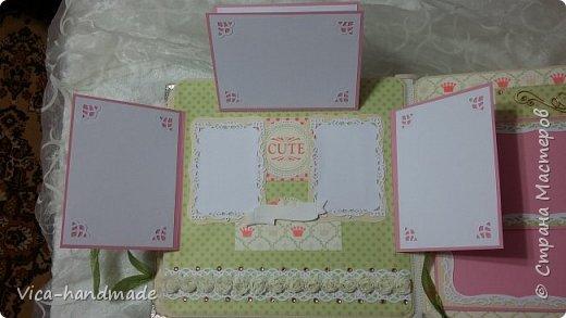Привет!!! У меня сегодня альбом для моей маленькой принцессы, для фотографии с 2-х лет и сколько поместятся... Мягкая тканевая обложка, обтянутая американским хлопком. Размер альбома: 26*26, корешок 13,5см. Переплет - Светланы Ковтун. Состоит из 12 листов (11 разворотов). Использовала бумагу DCWV - Preppy Princess Stack. Шикарная  бумага. Давно у меня лежит, ждала своего часа... Из украшений - ленты, кружевные розочки, чипборд, стразы, много вырубки... Так же использовала горячий эмбросинг. На каждой развороте раскладушки для фотографий а также открывающиеся странички. Альбом вмещает 190 фото. Обязательный атрибут - коробка для хранения. Фото будет много... фото 25