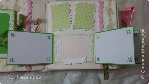 Привет!!! У меня сегодня альбом для моей маленькой принцессы, для фотографии с 2-х лет и сколько поместятся... Мягкая тканевая обложка, обтянутая американским хлопком. Размер альбома: 26*26, корешок 13,5см. Переплет - Светланы Ковтун. Состоит из 12 листов (11 разворотов). Использовала бумагу DCWV - Preppy Princess Stack. Шикарная  бумага. Давно у меня лежит, ждала своего часа... Из украшений - ленты, кружевные розочки, чипборд, стразы, много вырубки... Так же использовала горячий эмбросинг. На каждой развороте раскладушки для фотографий а также открывающиеся странички. Альбом вмещает 190 фото. Обязательный атрибут - коробка для хранения. Фото будет много... фото 34