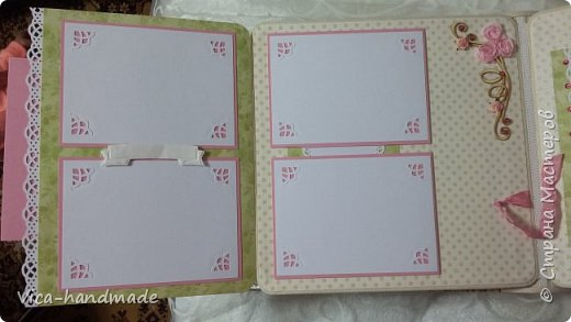 Привет!!! У меня сегодня альбом для моей маленькой принцессы, для фотографии с 2-х лет и сколько поместятся... Мягкая тканевая обложка, обтянутая американским хлопком. Размер альбома: 26*26, корешок 13,5см. Переплет - Светланы Ковтун. Состоит из 12 листов (11 разворотов). Использовала бумагу DCWV - Preppy Princess Stack. Шикарная  бумага. Давно у меня лежит, ждала своего часа... Из украшений - ленты, кружевные розочки, чипборд, стразы, много вырубки... Так же использовала горячий эмбросинг. На каждой развороте раскладушки для фотографий а также открывающиеся странички. Альбом вмещает 190 фото. Обязательный атрибут - коробка для хранения. Фото будет много... фото 37