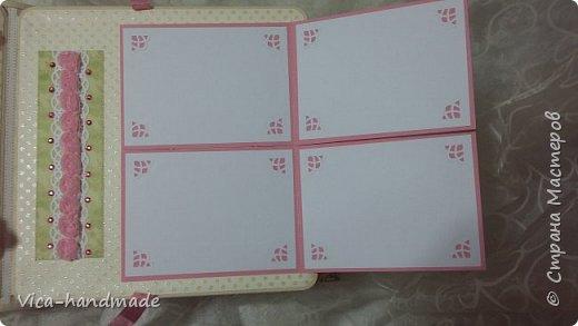 Привет!!! У меня сегодня альбом для моей маленькой принцессы, для фотографии с 2-х лет и сколько поместятся... Мягкая тканевая обложка, обтянутая американским хлопком. Размер альбома: 26*26, корешок 13,5см. Переплет - Светланы Ковтун. Состоит из 12 листов (11 разворотов). Использовала бумагу DCWV - Preppy Princess Stack. Шикарная  бумага. Давно у меня лежит, ждала своего часа... Из украшений - ленты, кружевные розочки, чипборд, стразы, много вырубки... Так же использовала горячий эмбросинг. На каждой развороте раскладушки для фотографий а также открывающиеся странички. Альбом вмещает 190 фото. Обязательный атрибут - коробка для хранения. Фото будет много... фото 39