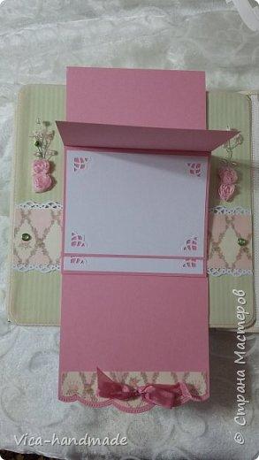 Привет!!! У меня сегодня альбом для моей маленькой принцессы, для фотографии с 2-х лет и сколько поместятся... Мягкая тканевая обложка, обтянутая американским хлопком. Размер альбома: 26*26, корешок 13,5см. Переплет - Светланы Ковтун. Состоит из 12 листов (11 разворотов). Использовала бумагу DCWV - Preppy Princess Stack. Шикарная  бумага. Давно у меня лежит, ждала своего часа... Из украшений - ленты, кружевные розочки, чипборд, стразы, много вырубки... Так же использовала горячий эмбросинг. На каждой развороте раскладушки для фотографий а также открывающиеся странички. Альбом вмещает 190 фото. Обязательный атрибут - коробка для хранения. Фото будет много... фото 42