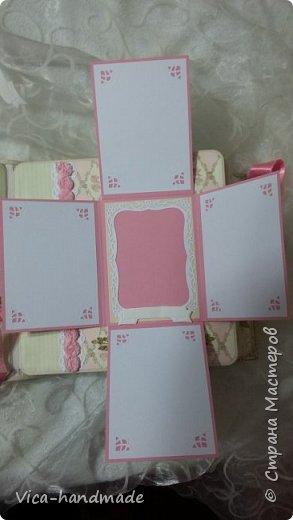 Привет!!! У меня сегодня альбом для моей маленькой принцессы, для фотографии с 2-х лет и сколько поместятся... Мягкая тканевая обложка, обтянутая американским хлопком. Размер альбома: 26*26, корешок 13,5см. Переплет - Светланы Ковтун. Состоит из 12 листов (11 разворотов). Использовала бумагу DCWV - Preppy Princess Stack. Шикарная  бумага. Давно у меня лежит, ждала своего часа... Из украшений - ленты, кружевные розочки, чипборд, стразы, много вырубки... Так же использовала горячий эмбросинг. На каждой развороте раскладушки для фотографий а также открывающиеся странички. Альбом вмещает 190 фото. Обязательный атрибут - коробка для хранения. Фото будет много... фото 43