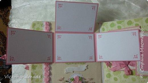Привет!!! У меня сегодня альбом для моей маленькой принцессы, для фотографии с 2-х лет и сколько поместятся... Мягкая тканевая обложка, обтянутая американским хлопком. Размер альбома: 26*26, корешок 13,5см. Переплет - Светланы Ковтун. Состоит из 12 листов (11 разворотов). Использовала бумагу DCWV - Preppy Princess Stack. Шикарная  бумага. Давно у меня лежит, ждала своего часа... Из украшений - ленты, кружевные розочки, чипборд, стразы, много вырубки... Так же использовала горячий эмбросинг. На каждой развороте раскладушки для фотографий а также открывающиеся странички. Альбом вмещает 190 фото. Обязательный атрибут - коробка для хранения. Фото будет много... фото 54