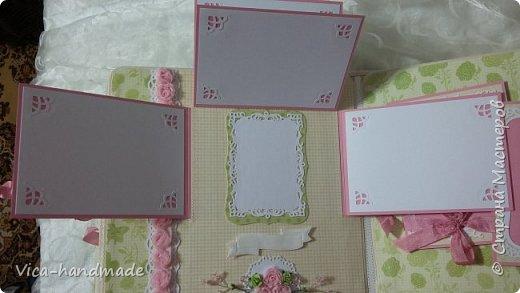 Привет!!! У меня сегодня альбом для моей маленькой принцессы, для фотографии с 2-х лет и сколько поместятся... Мягкая тканевая обложка, обтянутая американским хлопком. Размер альбома: 26*26, корешок 13,5см. Переплет - Светланы Ковтун. Состоит из 12 листов (11 разворотов). Использовала бумагу DCWV - Preppy Princess Stack. Шикарная  бумага. Давно у меня лежит, ждала своего часа... Из украшений - ленты, кружевные розочки, чипборд, стразы, много вырубки... Так же использовала горячий эмбросинг. На каждой развороте раскладушки для фотографий а также открывающиеся странички. Альбом вмещает 190 фото. Обязательный атрибут - коробка для хранения. Фото будет много... фото 55