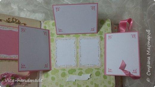 Привет!!! У меня сегодня альбом для моей маленькой принцессы, для фотографии с 2-х лет и сколько поместятся... Мягкая тканевая обложка, обтянутая американским хлопком. Размер альбома: 26*26, корешок 13,5см. Переплет - Светланы Ковтун. Состоит из 12 листов (11 разворотов). Использовала бумагу DCWV - Preppy Princess Stack. Шикарная  бумага. Давно у меня лежит, ждала своего часа... Из украшений - ленты, кружевные розочки, чипборд, стразы, много вырубки... Так же использовала горячий эмбросинг. На каждой развороте раскладушки для фотографий а также открывающиеся странички. Альбом вмещает 190 фото. Обязательный атрибут - коробка для хранения. Фото будет много... фото 58