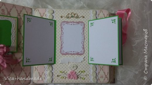 Привет!!! У меня сегодня альбом для моей маленькой принцессы, для фотографии с 2-х лет и сколько поместятся... Мягкая тканевая обложка, обтянутая американским хлопком. Размер альбома: 26*26, корешок 13,5см. Переплет - Светланы Ковтун. Состоит из 12 листов (11 разворотов). Использовала бумагу DCWV - Preppy Princess Stack. Шикарная  бумага. Давно у меня лежит, ждала своего часа... Из украшений - ленты, кружевные розочки, чипборд, стразы, много вырубки... Так же использовала горячий эмбросинг. На каждой развороте раскладушки для фотографий а также открывающиеся странички. Альбом вмещает 190 фото. Обязательный атрибут - коробка для хранения. Фото будет много... фото 65