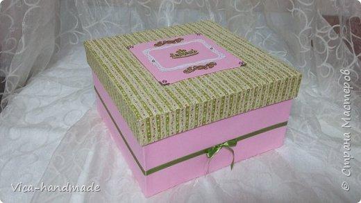 Привет!!! У меня сегодня альбом для моей маленькой принцессы, для фотографии с 2-х лет и сколько поместятся... Мягкая тканевая обложка, обтянутая американским хлопком. Размер альбома: 26*26, корешок 13,5см. Переплет - Светланы Ковтун. Состоит из 12 листов (11 разворотов). Использовала бумагу DCWV - Preppy Princess Stack. Шикарная  бумага. Давно у меня лежит, ждала своего часа... Из украшений - ленты, кружевные розочки, чипборд, стразы, много вырубки... Так же использовала горячий эмбросинг. На каждой развороте раскладушки для фотографий а также открывающиеся странички. Альбом вмещает 190 фото. Обязательный атрибут - коробка для хранения. Фото будет много... фото 2