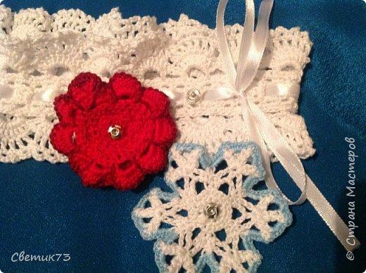 Повязка. Цветок и снежинка на кнопке фото 1