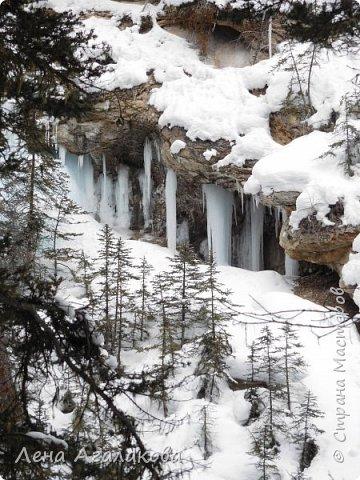 Добрый всем зимний денек! В этот раз хочу рассказать о нашей поездке зимой в горы. Мы вообще редко зимой ездим, но уж больно в этом году теплая зима. Недавно выбрались в Johnston Canyon, это недалеко от Банфа, было тепло и мы прекрасно погуляли. Посмотрели на скалолазах лазающих по ледовым стенкам замерзшего водопада.  Ни разу не были там зимой - очень красиво, правда дорога скользкая, дети половину пути проехали по льду... Дорога вдоль каньона проложена с перилами, так что идти было удобно.  фото 6
