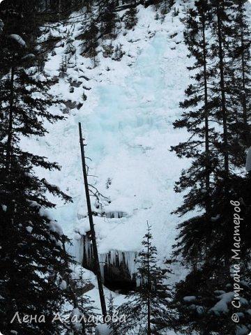 Добрый всем зимний денек! В этот раз хочу рассказать о нашей поездке зимой в горы. Мы вообще редко зимой ездим, но уж больно в этом году теплая зима. Недавно выбрались в Johnston Canyon, это недалеко от Банфа, было тепло и мы прекрасно погуляли. Посмотрели на скалолазах лазающих по ледовым стенкам замерзшего водопада.  Ни разу не были там зимой - очень красиво, правда дорога скользкая, дети половину пути проехали по льду... Дорога вдоль каньона проложена с перилами, так что идти было удобно.  фото 7