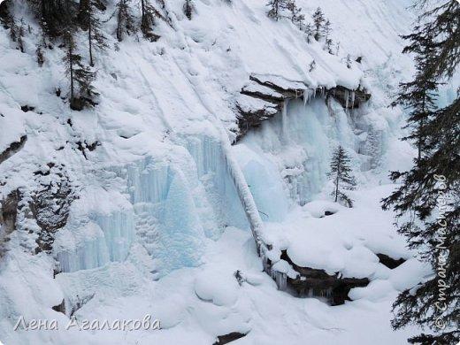 Добрый всем зимний денек! В этот раз хочу рассказать о нашей поездке зимой в горы. Мы вообще редко зимой ездим, но уж больно в этом году теплая зима. Недавно выбрались в Johnston Canyon, это недалеко от Банфа, было тепло и мы прекрасно погуляли. Посмотрели на скалолазах лазающих по ледовым стенкам замерзшего водопада.  Ни разу не были там зимой - очень красиво, правда дорога скользкая, дети половину пути проехали по льду... Дорога вдоль каньона проложена с перилами, так что идти было удобно.  фото 8