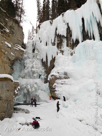 Добрый всем зимний денек! В этот раз хочу рассказать о нашей поездке зимой в горы. Мы вообще редко зимой ездим, но уж больно в этом году теплая зима. Недавно выбрались в Johnston Canyon, это недалеко от Банфа, было тепло и мы прекрасно погуляли. Посмотрели на скалолазах лазающих по ледовым стенкам замерзшего водопада.  Ни разу не были там зимой - очень красиво, правда дорога скользкая, дети половину пути проехали по льду... Дорога вдоль каньона проложена с перилами, так что идти было удобно.  фото 14