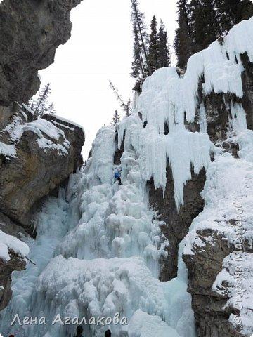 Добрый всем зимний денек! В этот раз хочу рассказать о нашей поездке зимой в горы. Мы вообще редко зимой ездим, но уж больно в этом году теплая зима. Недавно выбрались в Johnston Canyon, это недалеко от Банфа, было тепло и мы прекрасно погуляли. Посмотрели на скалолазах лазающих по ледовым стенкам замерзшего водопада.  Ни разу не были там зимой - очень красиво, правда дорога скользкая, дети половину пути проехали по льду... Дорога вдоль каньона проложена с перилами, так что идти было удобно.  фото 23