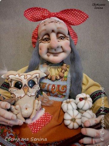 """А вот и ещё одна Бабулечка-Ягулечка, выполненная в технике """"скульптурный текстиль"""". Основной материал: проволочный каркас, синтепон, капрон, шерсть для валяния. Рост: 36 см фото 2"""