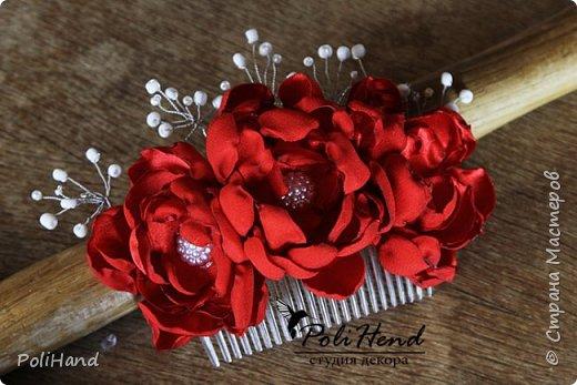 Гребень для прически, ручная работа, цветы выполнены из атласной ткани! фото 2