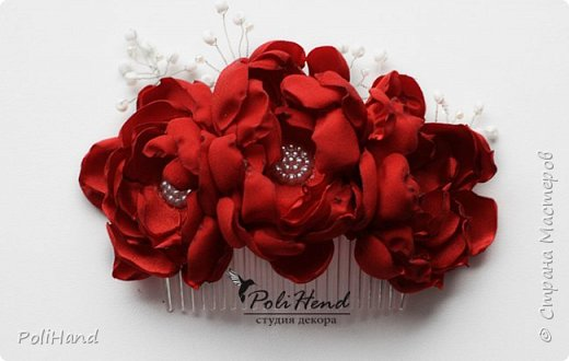 Гребень для прически, ручная работа, цветы выполнены из атласной ткани! фото 1