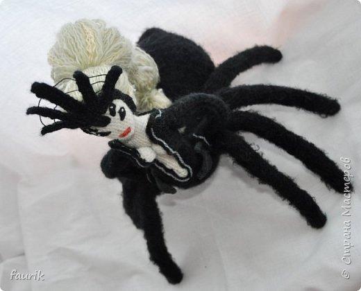В январе связала вот такое создание. Рост 35 см, лапы из акрила, тело и черный костюм - шерсть, кукла - бисерная пряжа, волосы - акрил. Каркас во всём теле + кисти. Лицо вышито мулине. Крючки 0,90 и 1.  Вообще я арахнофоб, и всё связанное с пауками меня пугает. Но мне так хотелось воплотить её в жизнь, что стиснула зубы и пошла вязать) фото 11