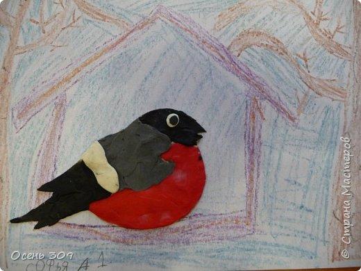 """По традиции участвуем с детьми в экологической акции """"Поможем зимующим птицам"""". Родители вместе с детьми изготавливают дома кормушки и затем мы все вместе их развешиваем. А на занятии мы нарисовали кормушки и деревья восковыми карандашами, а самих снегирей сделали из пластилина. фото 1"""