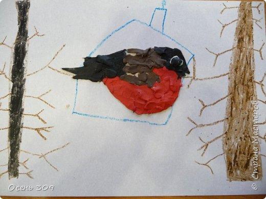 """По традиции участвуем с детьми в экологической акции """"Поможем зимующим птицам"""". Родители вместе с детьми изготавливают дома кормушки и затем мы все вместе их развешиваем. А на занятии мы нарисовали кормушки и деревья восковыми карандашами, а самих снегирей сделали из пластилина. фото 3"""