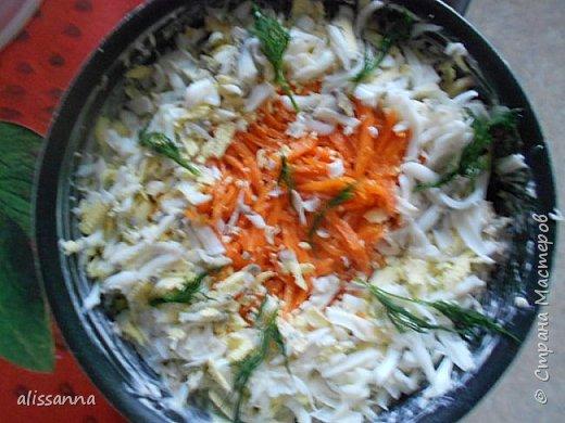Доброе время суток....жители Страны....))))) Предлагаю вашему вниманию салат из продуктов...которые... как правило...есть в любом холодильнике...получается свежий и сочный на вкус....))))))))  Для салата понадобится следующее:  куриная грудка белокочанная капуста огурец свежий сыр морковь по-корейски яйцо вареное зелень соевый соус майонез фото 6