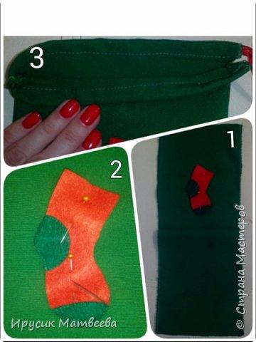Подарочный мешочек или упаковка для мини-презента.сшиваю два отреза ткани на дне..вручную пришиваю фетровый носочек нитками...затем верх кромку загибаю и пришиваю,оставляя немного места внутри шва,чтобы полезла ленточка...потом сшиваю боковины...вдеваю ленту с помощью булавки...мешочек готов.  фото 1