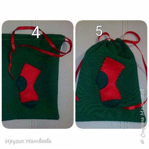 Подарочный мешочек или упаковка для мини-презента.сшиваю два отреза ткани на дне..вручную пришиваю фетровый носочек нитками...затем верх кромку загибаю и пришиваю,оставляя немного места внутри шва,чтобы полезла ленточка...потом сшиваю боковины...вдеваю ленту с помощью булавки...мешочек готов.  фото 2