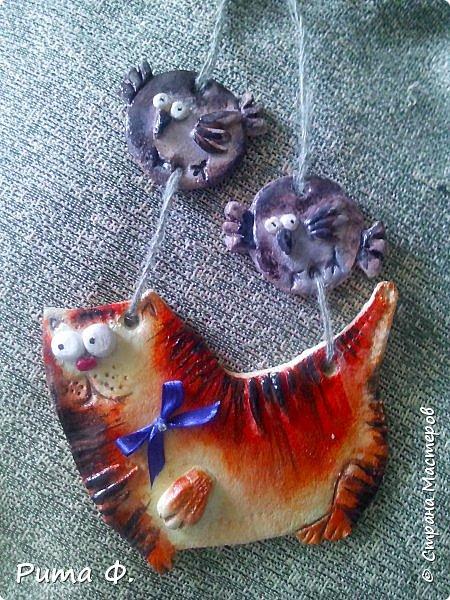 Огромное спасибо за идею Више (http://stranamasterov.ru/user/44976). По ее работам слепили с внучкой этих котиков для папы и мамы к праздникам. фото 1