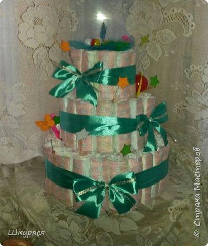 Вот такой тортик соорудили на рождение малыша Максима по заказу знакомой фото 2
