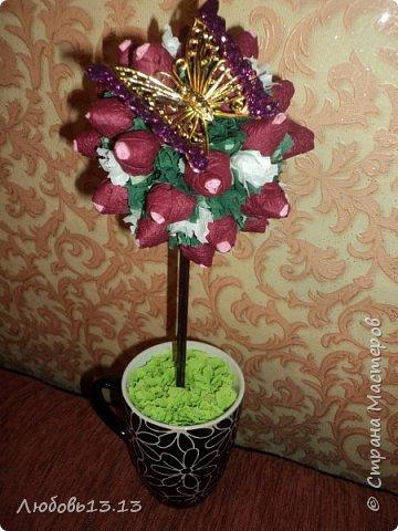 Деревца из бумажных цветов фото 7