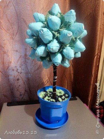 Деревца из бумажных цветов фото 2