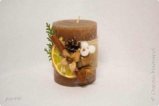 Решила задекорировать свечи для Новогоднего подарка. Эко-декор. Очень понравился этот мастер-класс http://stranamasterov.ru/node/694571 фото 2