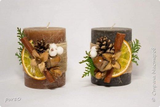 Решила задекорировать свечи для Новогоднего подарка. Эко-декор. Очень понравился этот мастер-класс http://stranamasterov.ru/node/694571 фото 1